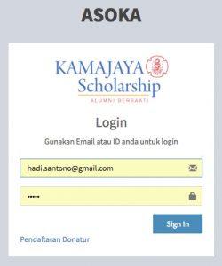 login asoka aplikasi scholarship kamajaya
