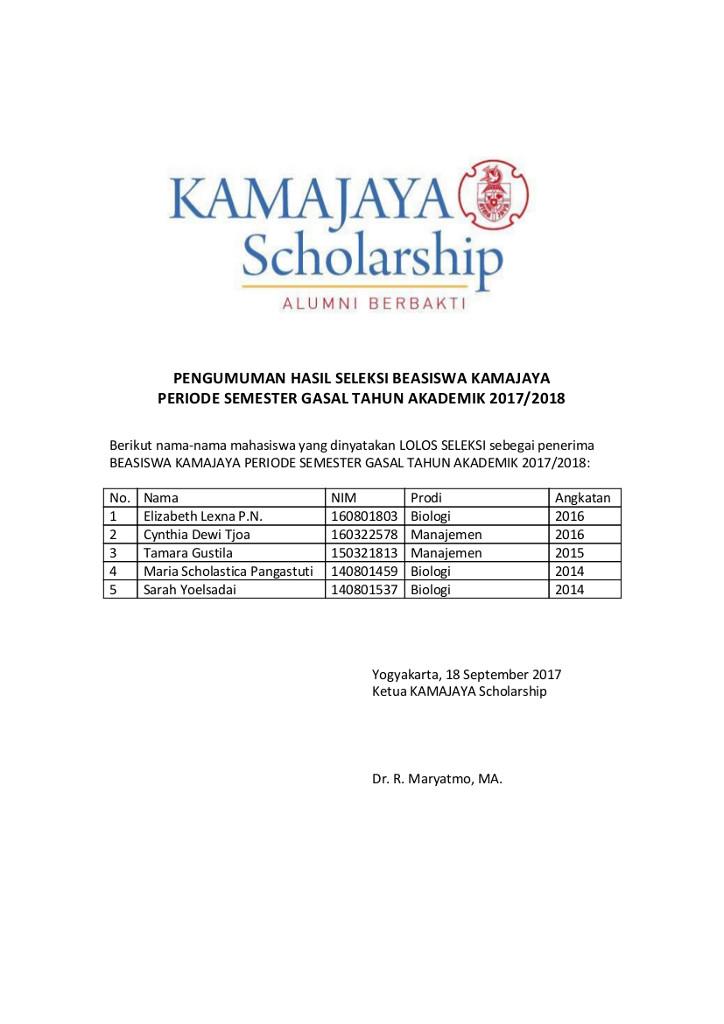 Pengumuman Hasil Seleksi KAMAJAYA Scholarship